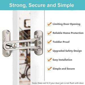 Home Security Door Lock, Front Door Locks for Kids, Home Reinforcement Lock for Swing-in Doors, Thicken Solid Aluminium Alloy, Satin Nickel