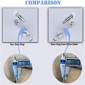 """8 Pack Hinge Pin Black Door Stopper,Adjustable Deluxe Heavy Duty Door Stopper 2-1/2″x1-3/4"""",with Black Rubber Bumper Tips"""